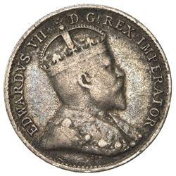 CANADA: Edward VII, 1901-1910, AR 5 cents, 1909. F