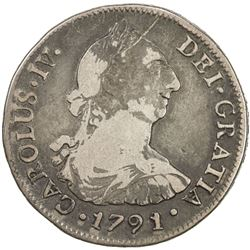 CHILE: Carlos IV, 1788-1808, AR 4 reales, 1791/0-So. F