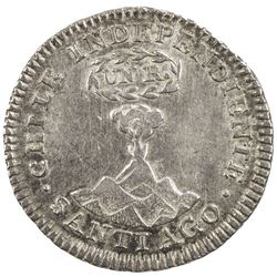 CHILE: AR real, 1834, KM-91, assayer IJ, Volcano design, one-year type, EF