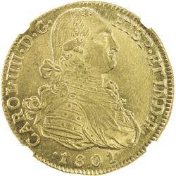 COLOMBIA: Carlos IV, 1788-1808, AV 8 escudos, 1801-NR, JJ, Santa Fe de Nuevo Reino, NGC MS64