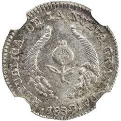 COLOMBIA: Nueva Granada, 1837-1850, AR 1/2 real, Bogota, 1839. NGC MS64