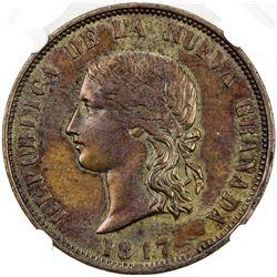 COLOMBIA: AE 16 pesos pattern, 1847. NGC AU53