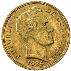 COLOMBIA: Republic, AV 10 pesos, 1924. AU