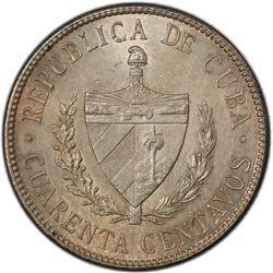CUBA: AR 40 centavos, Philadelphia mint, 1915. PCGS UNC