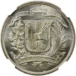 DOMINICAN REPUBLIC: AR peso, 1952. NGC MS64