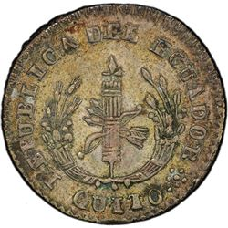 ECUADOR: Republic, AR 1/2 real, Quito, 1840. PCGS AU55