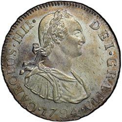 GUATEMALA: Carlos IV, 1788-1808, AR 2 reales, 1794. PCGS MS63