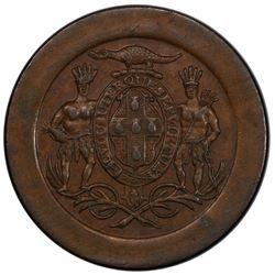 JAMAICA: AE token penny, ND (ca. 1829). PCGS AU58