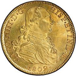 MEXICO: Carlos IV, 1788-1808, AV 8 escudos, 1802-Mo. PCGS MS61