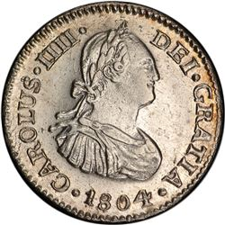 MEXICO: Carlos IV, 1788-1808, AR ½ real, 1804-Mo, KM-72, assayer TH, PCGS graded AU58