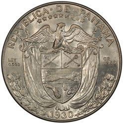 PANAMA: Republic, AR 1/2 balboa, 1930. PCGS MS62