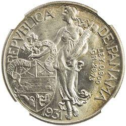 PANAMA: Republic, AR balboa, 1931. NGC MS62