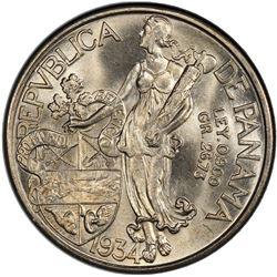 PANAMA: AR balboa, 1934, KM-13, El-4, PCGS graded MS64