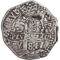 PERU: Carlos II, 1665-1700, AR 8 reales cob (27.29g), [16]84-L. VF
