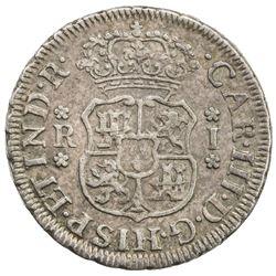 PERU: Carlos III, 1759-1788, AR real, 1762-LM. EF