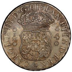 PERU: Carlos III, 1759-1788, AR 4 reales, 1772-LM. PCGS EF45