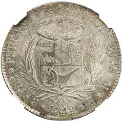 PERU: AR 8 reales, 1842-LIMAE. NGC AU58