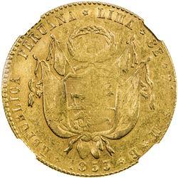 PERU: Republic, AV 8 escudos, Lima, 1853. NGC AU55
