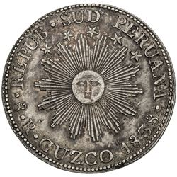 PERU: Republic, AR 8 reales, 1838 CUZCO. VF-EF