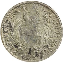 PERU: Republic, AR 4 reales, 1857-PASCO. ANACS F