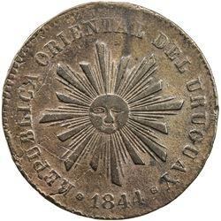 URUGUAY: Republic, AE 40 centesimos (33.36g), 1844. VF