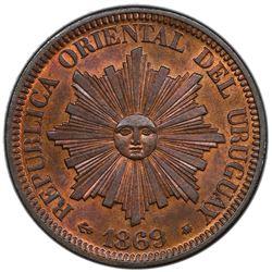 URUGUAY: Republic, AE 4 centesimos, 1896-H. PCGS MS64