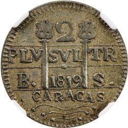 VENEZUELA: Fernando VII, 1808-1821, AR 2 reales, Caracas, 1819. NGC EF45