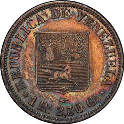 VENEZUELA: Republic, AR real, 1858-A. PCGS AU55