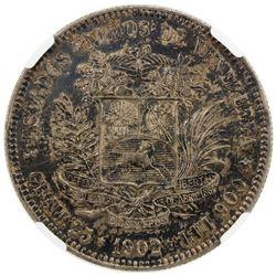 VENEZUELA: Republic, AR 5 bolivares, 1902. NGC AU58