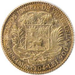 VENEZUELA: Republic, AV 20 bolivares, 1904. PCGS AU58
