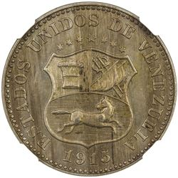 VENEZUELA: Republic, 5 centimos, 1915(p). NGC MS63