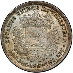 VENEZUELA: Republic, AR 1/2 bolivar, 1921. PCGS MS63