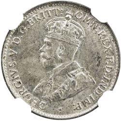 AUSTRALIA: George V, 1910-1936, AR 3 pence, 1924 (m & sy). NGC MS62