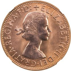 AUSTRALIA: Elizabeth II, 1952-, AE penny, 1961. NGC PF66