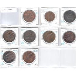 AUSTRALIA: LOT of 9 Colonial penny tokens