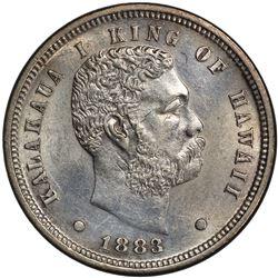 HAWAII: Kalakaua, 1874-1891, AR 10 cents (umi keneta), 1883. PCGS UNC