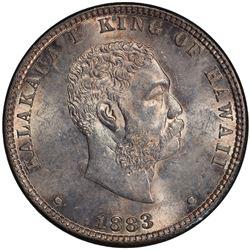 HAWAII: Kalakaua, 1874-1891, AR 1/4 dollar (hapaha), 1883. PCGS MS63