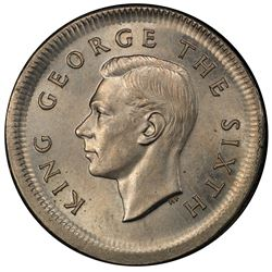 NEW ZEALAND: George VI, 1937-1952, copper-nickel shilling, 1951. PCGS MS63