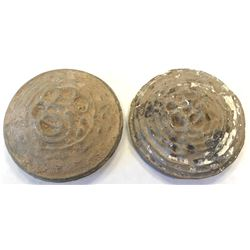 "WESTERN HAN: LOT of 2 clay burial 'coins' imitating the bai jin lung  ""white metal dragon"""