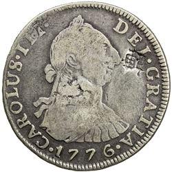 CHINESE CHOPMARKS: BOLIVIA: Carlos III, 1759-1788, AR 4 reales, 1776-PTS. F