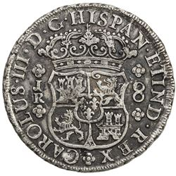 CHINESE CHOPMARKS: BOLIVIA: Carlos III, 1759-1788, AR 8 reales, 1770-PTS. EF