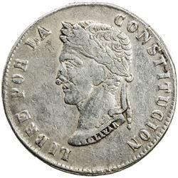 CHINESE CHOPMARKS: BOLIVIA: Republic, AR 8 soles, 1852-PTS. VF