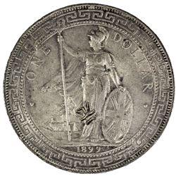 CHINESE CHOPMARKS: GREAT BRITAIN: AR trade dollar, 1899-B. EF-AU