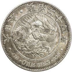 CHINESE CHOPMARKS: JAPAN: Meiji, 1868-1912, AR yen, year 24 (1891). VF-EF