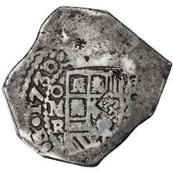 CHINESE CHOPMARKS: MEXICO: Felipe V, 2nd reign, 1724-1746, AR 8 reales, 1730-Mo. F-VF