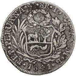 CHINESE CHOPMARKS: PERU: Republic, AR 8 reales, 1841-LIMAE. F