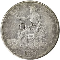 CHINESE CHOPMARKS: UNITED STATES: AR trade dollar, 1874-S. EF