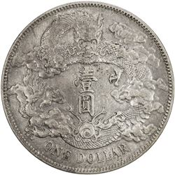 CHINA: Hsuan Tung, 1909-1911, AR dollar, year 3 (1911), Y-31, L& M-37, variety with no dot, EF