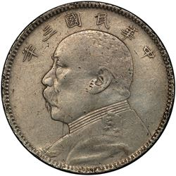 CHINA: Republic, AR 50 cents, year 3 (1914). PCGS EF