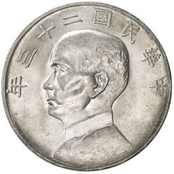 CHINA: Republic, AR dollar, year 23 (1934). UNC